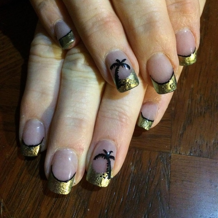 Gold Tip Palm Tree Nail Design