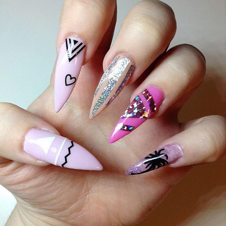 sharp palm tree nail art