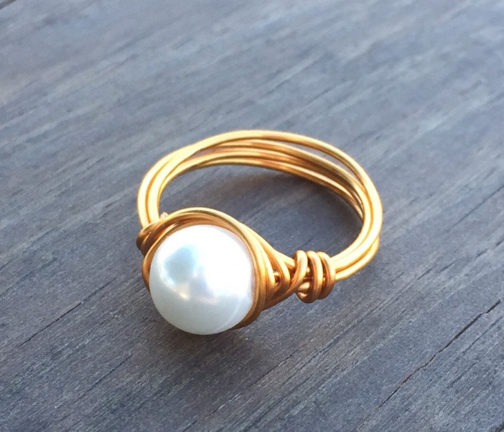 Pearl Wire Wrapped Ring