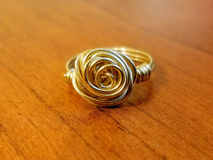 Wire Wrapped Rose Ring