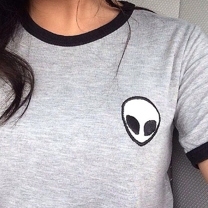 Grey Alien Emoji T Shirt