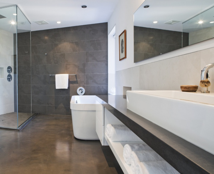 Concrete Bathtub Floor Idea