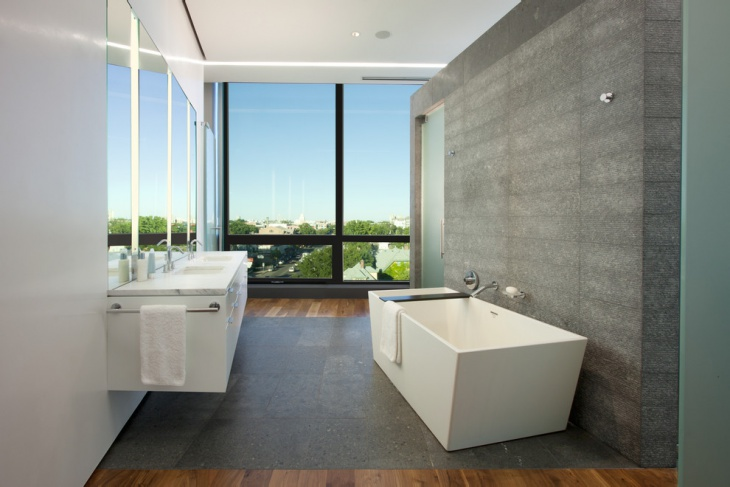 Stamped Concrete Bathroom Floor
