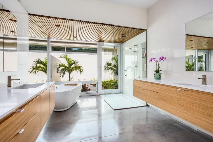 Luxury Bathroom Concrete Floor Idea