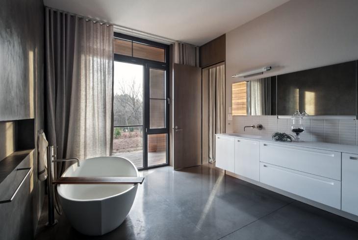 Gray Bathroom Concrete Floor Idea