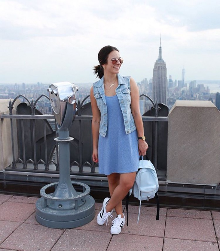 blue color travel outfit