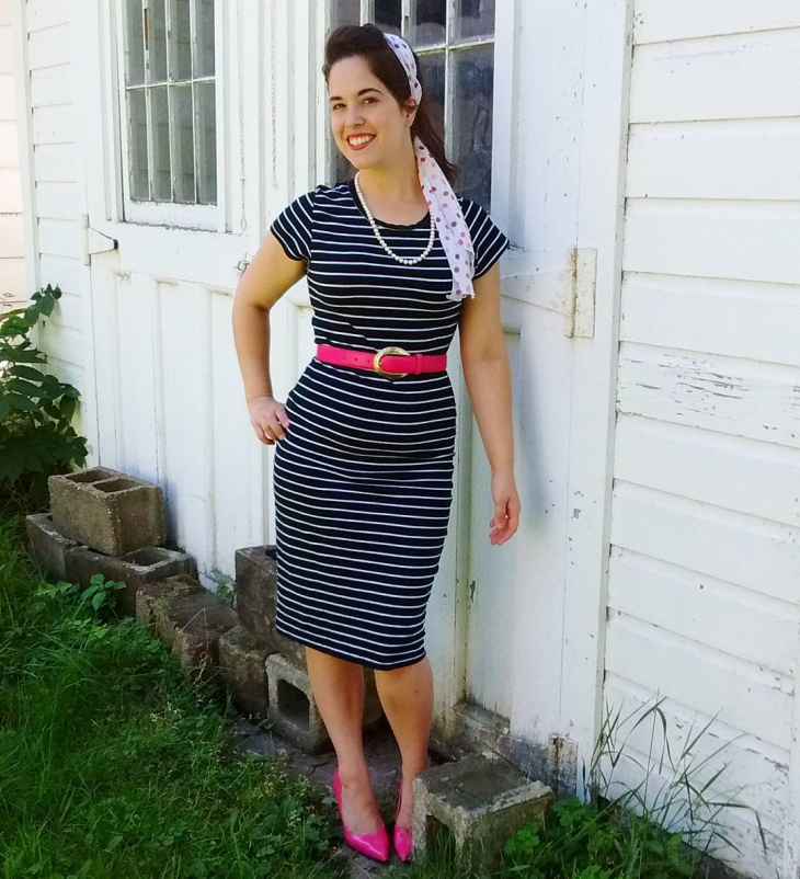 black and white striped outfit