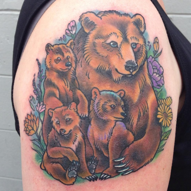 bear floral tattoo design