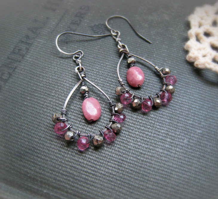 Modern Rhodonite Earrings Jewelry