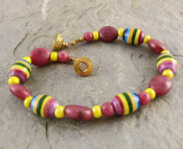 Pink and Yellow Rhodonite Bracelet