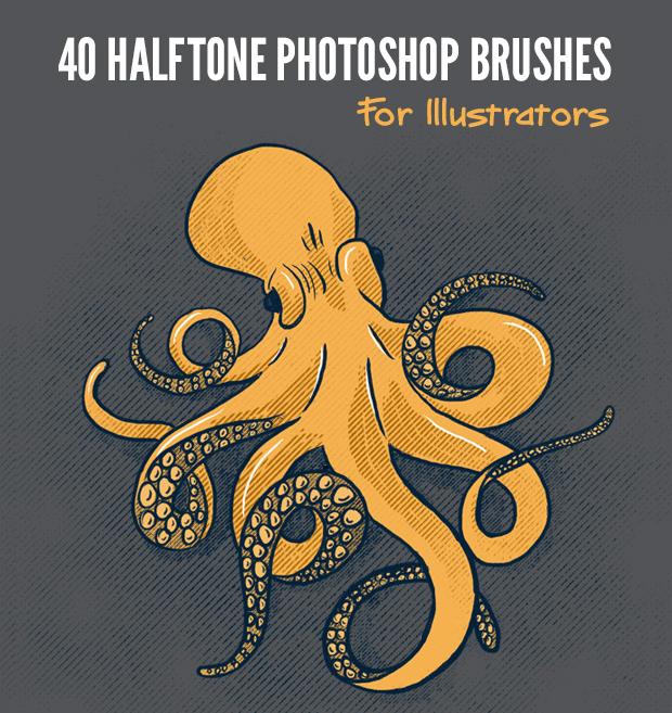 40 Halftone Illustration Brushes for Photoshop