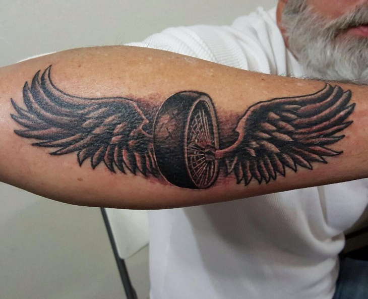 Wings Motorcycle Tattoo Idea