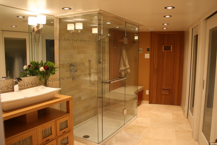 17 curbless shower designs ideas design trends for Sauna bathroom ideas