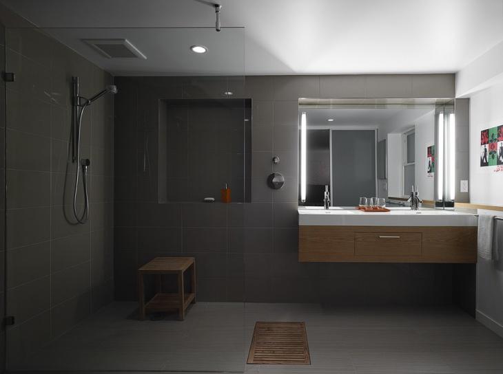 Shower Wood Curbless Design