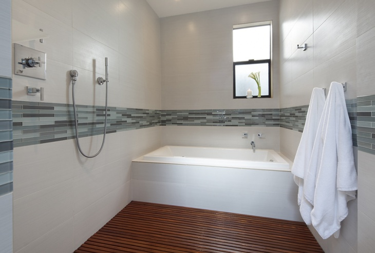 traditional shower wooden curbless design