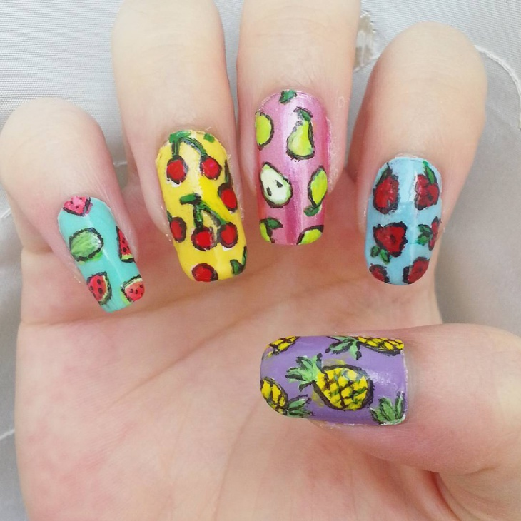 Multicolor Fruit Nail Art Design