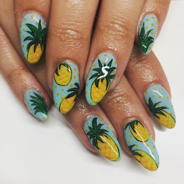 Pineapple Fruit Nail Art