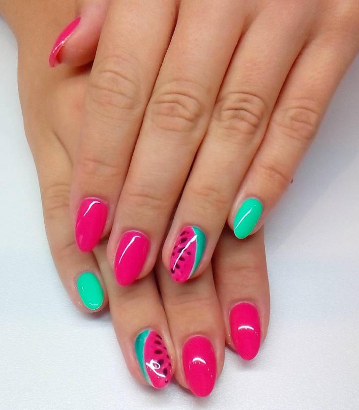 handpainted fruit nail design