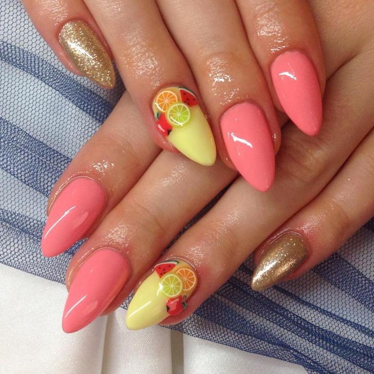 Elegant Fruit Nail Design
