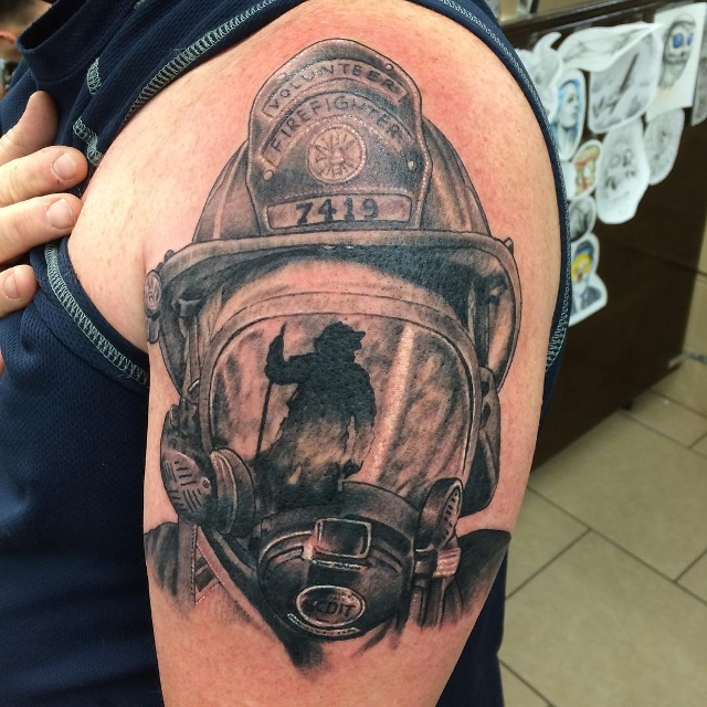 Black and White Firefighter Tattoo