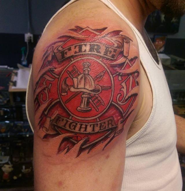firefighter red tattoo design