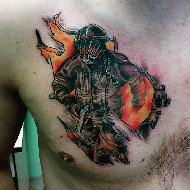 simple firefighter tattoo for chest