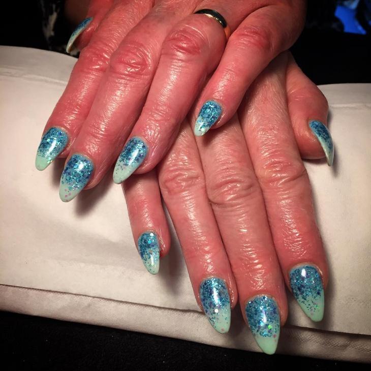 glitter icicle nail art