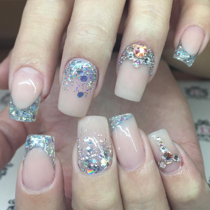 stone icicle nail manicure