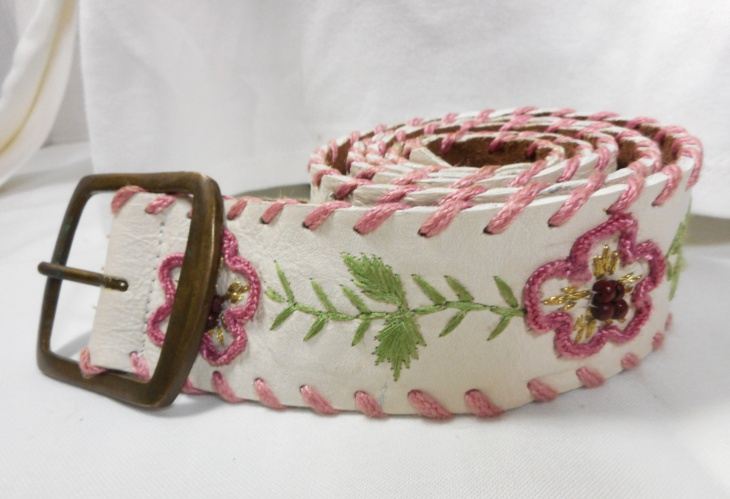 Fossil Embroidered Belt