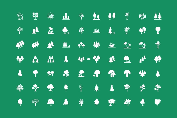 forest tree icons collection