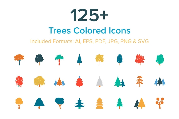 trendy colorful tree icons