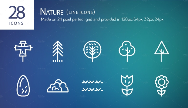 Nature Line Tree Icons