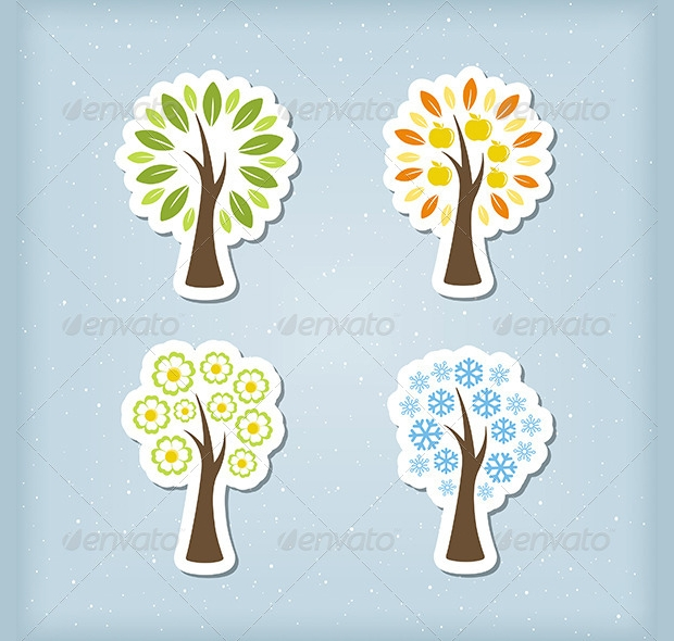 Four Season Tree Icons