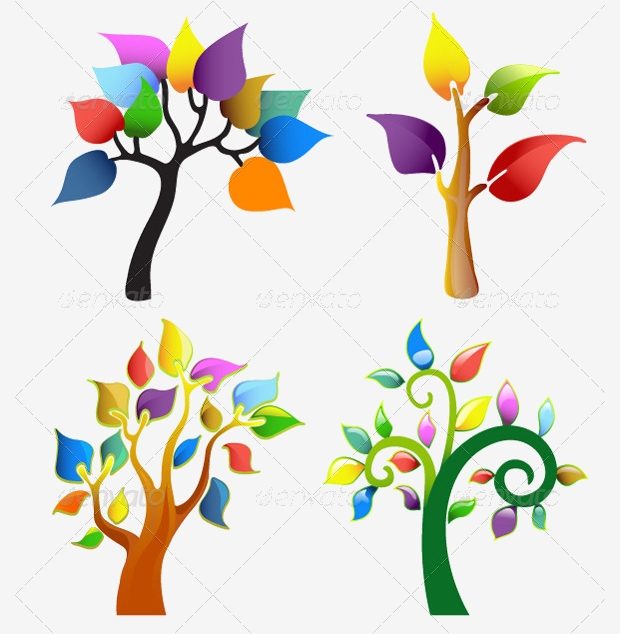 colored abstract tree icons