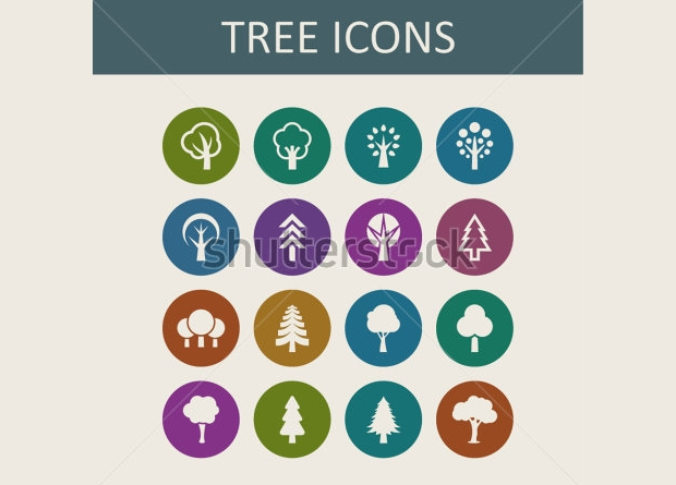 Abstract Polygonal Tree Icons