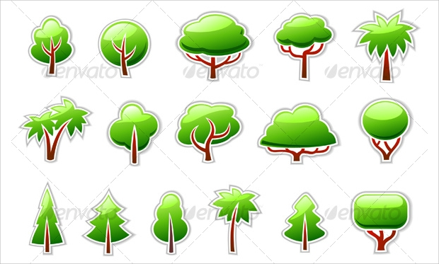 trees symbols icon set