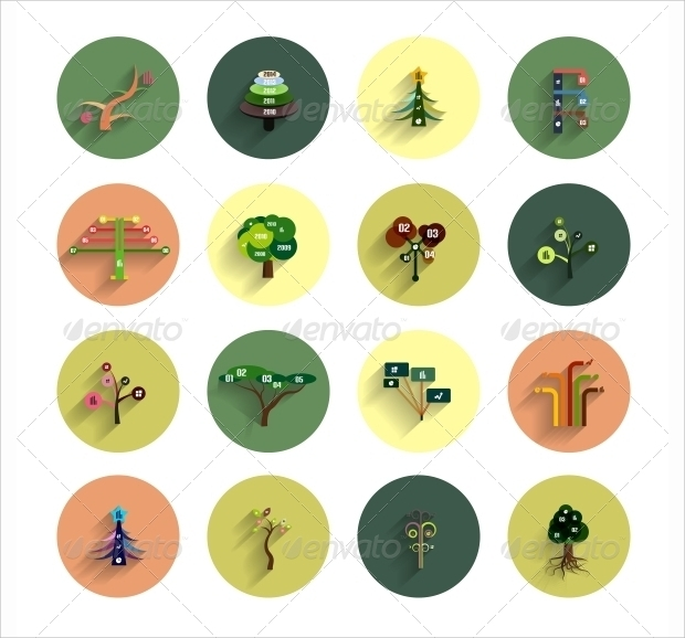 flat eco tree infographic icons