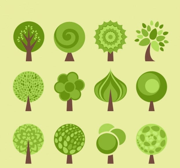 flat style green tree icons
