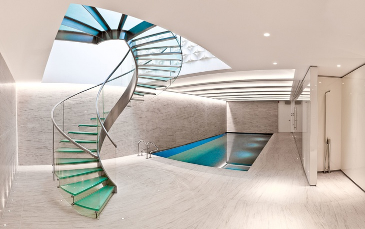 glass curved staircase design