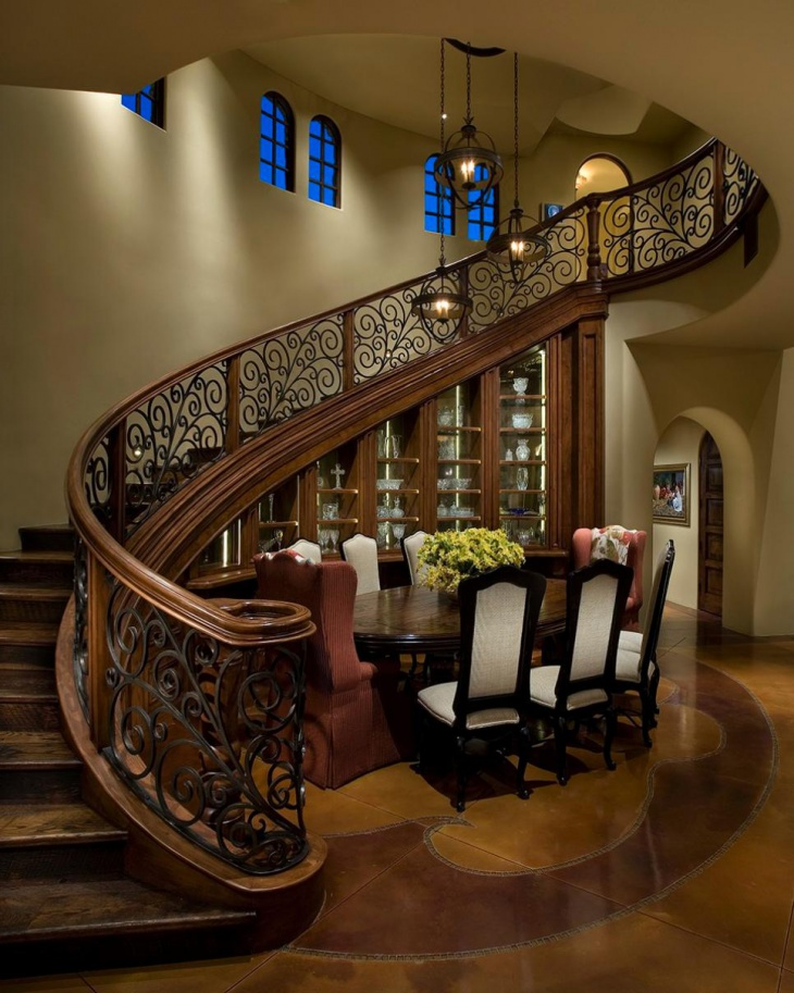 Vintage Curved Staircase