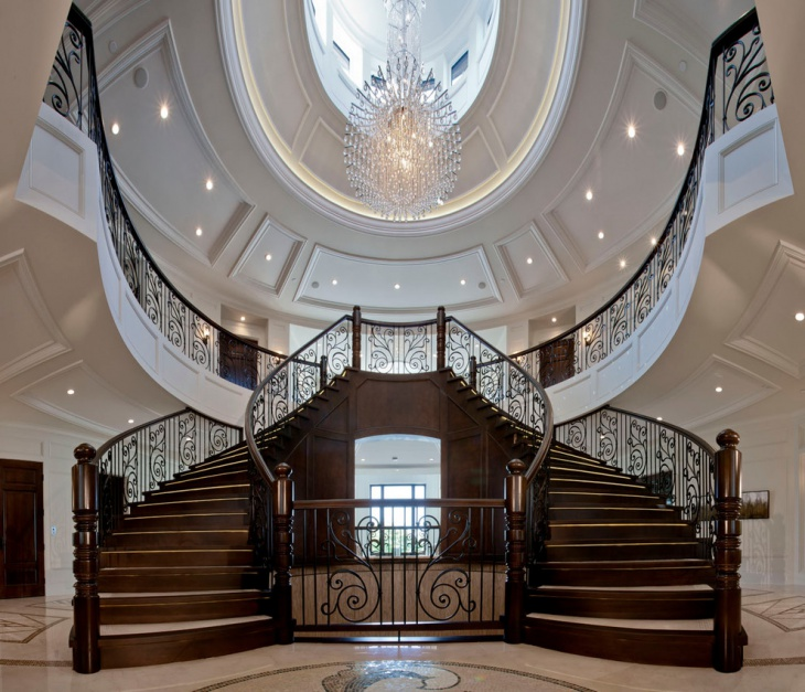 17 curved staircase designs ideas design trends for Mansion foyer designs
