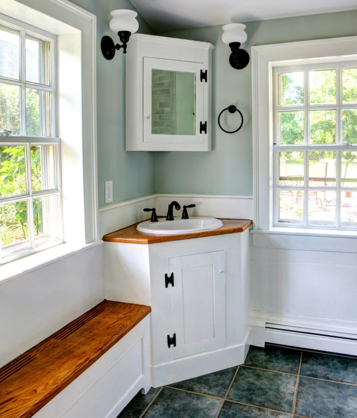 bathroom mirrored corner cabinet