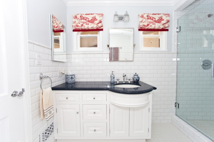 White Wall Tile Bathroom Corner Cabinet