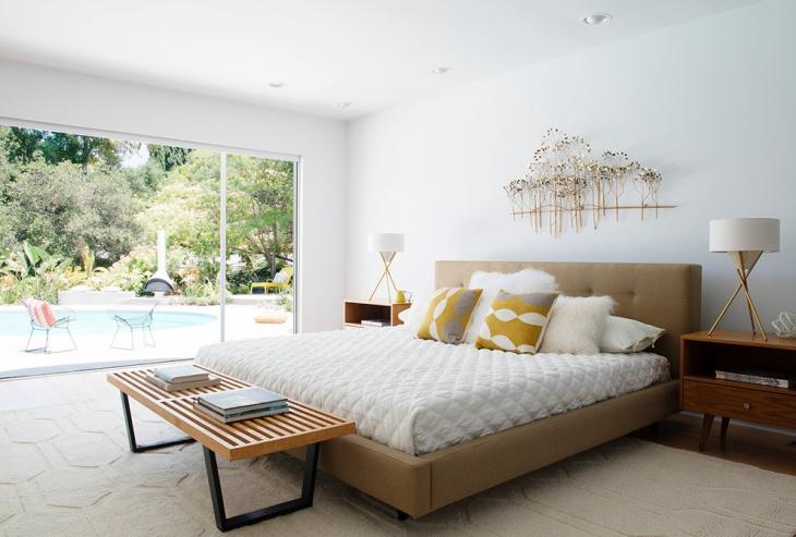 midcentury bedroom bench design