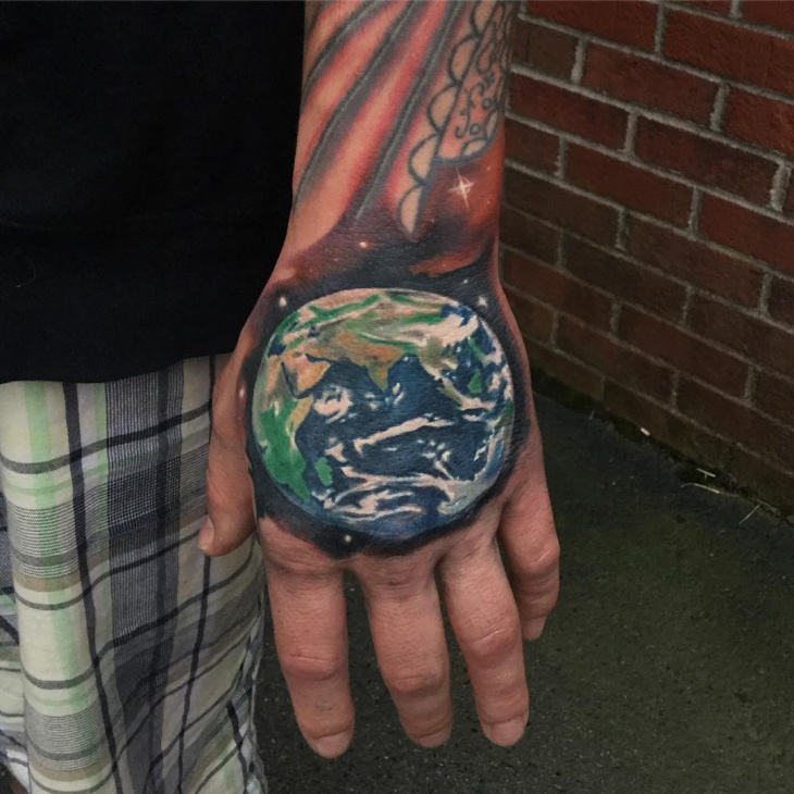 Earth Tattoo for Palm
