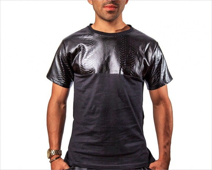 Half Leather T Shirt