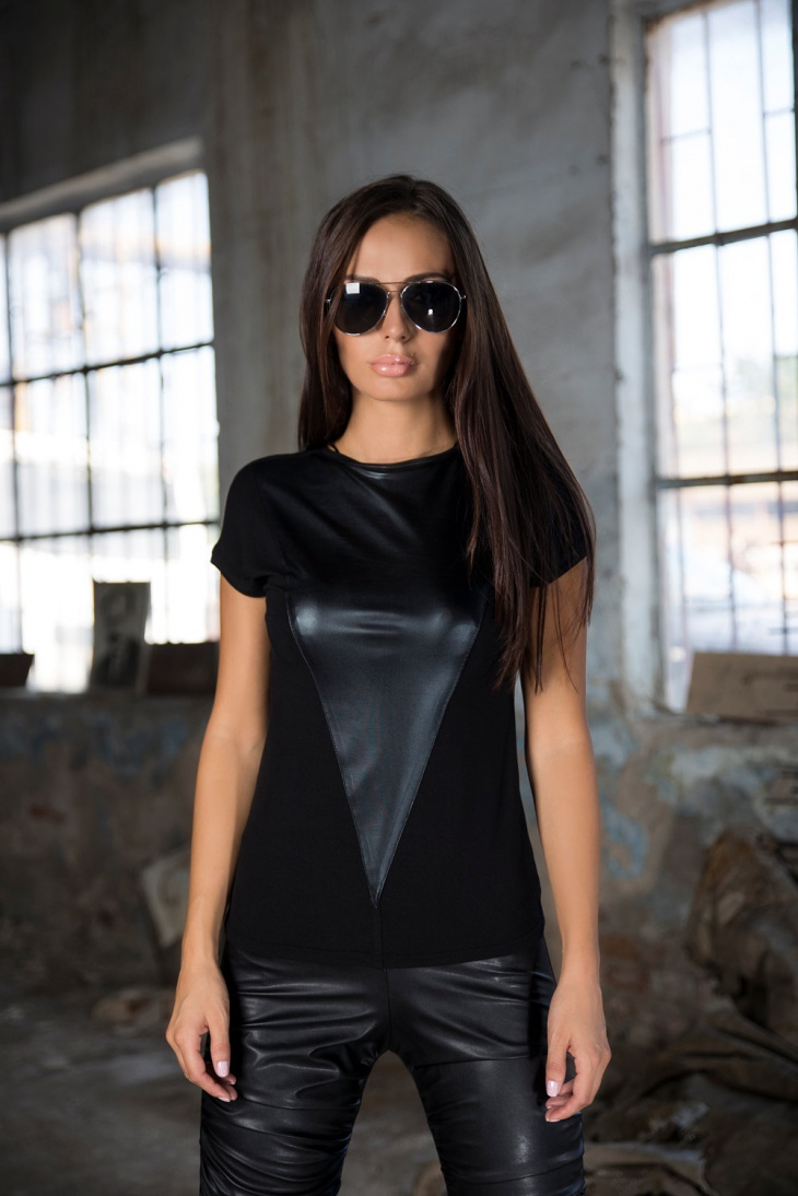 Triangle Leather T Shirt