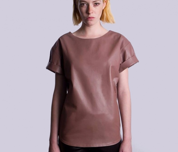 Leather Brown T Shirt