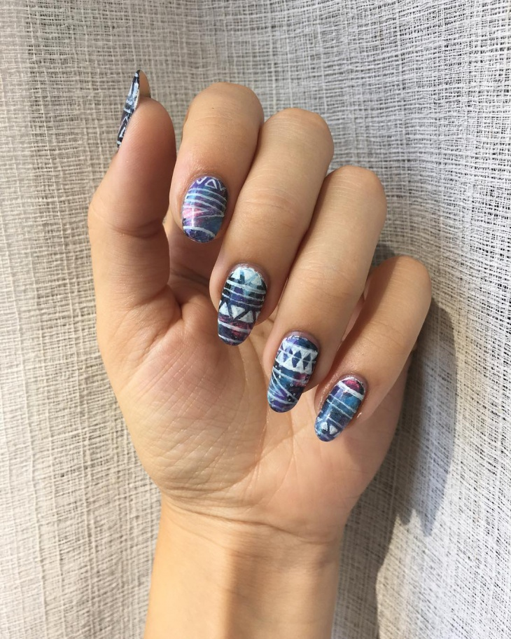 Aztec Galaxy Nail Design