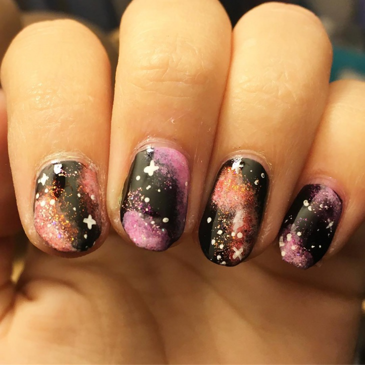 galaxy cross nail art idea